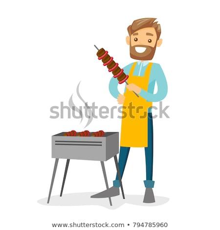 barbekü · hazırlık · detay · et · gıda · yeşil - stok fotoğraf © mikko