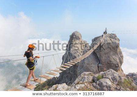 Menina montanha ponte jovem beautiful girl montanhas Foto stock © rozbyshaka