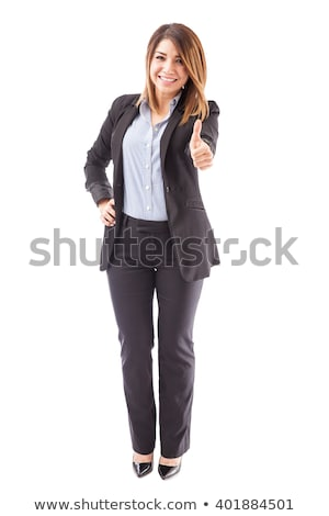 igazgató · remek · izolált · fehér · boldog · háttér - stock fotó © HASLOO