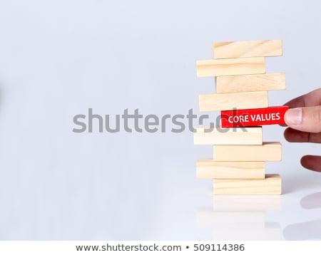 Foto stock: Núcleo · valores · mano · escrito · rojo · marcador