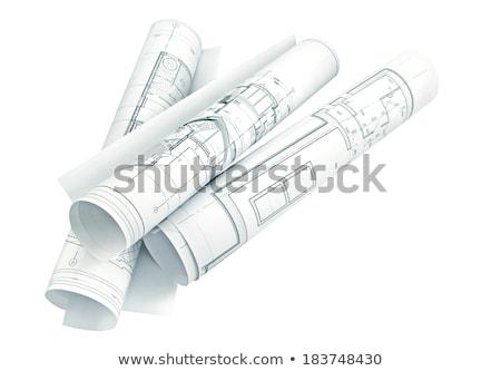 Inşaat planları yalıtılmış beyaz Stok fotoğraf © kuligssen
