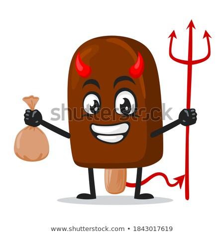 Bruin duivel gekleurd cartoon illustratie vector Stockfoto © derocz