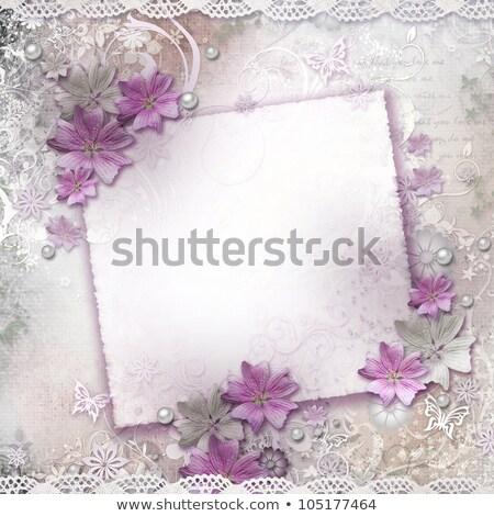 Rose carte perles dentelle fleurs papier Photo stock © gladiolus