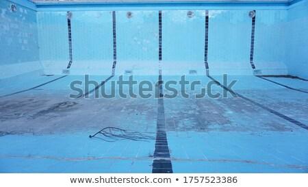 üres · úszómedence · kék · csempézett · tavasz · építkezés - stock fotó © zzve
