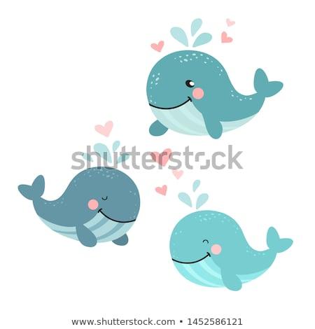 bálna · természet · állat · delfin · rajz · boldogság - stock fotó © lenm