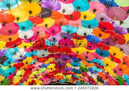Colorato ombrelli grunge carta strada decorazione Foto d'archivio © stevanovicigor