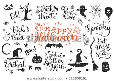 boldog · halloween · boszorkánykalap · seprű · kés · sütőtök - stock fotó © Glenofobiya