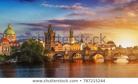 Prag · binalar · eski · Çek · Cumhuriyeti · Retro - stok fotoğraf © andreypopov