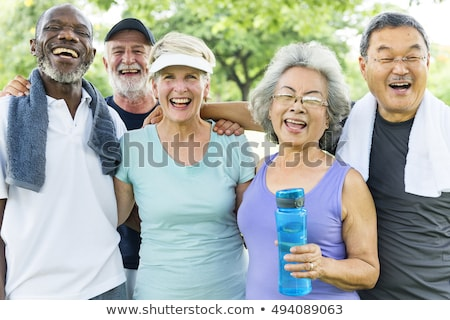 Mosolyog idős személy izolált kopott hölgy pózol Stock fotó © stockyimages