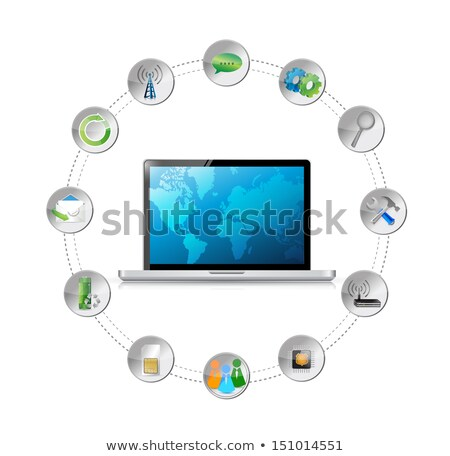 Tablet Mail Illustration Design Over White Background Photo stock © alexmillos
