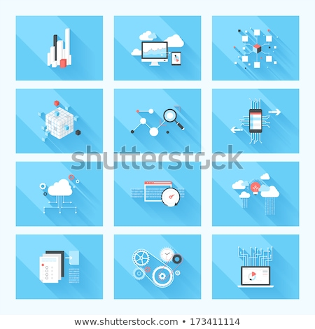 Data Management on Blue in Flat Design. Stock photo © tashatuvango