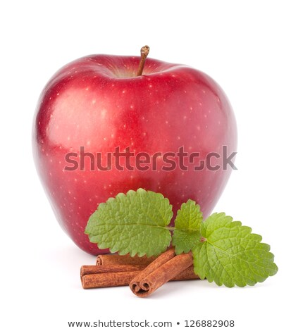 Red and green apples, cinnamon sticks and mint leaves still life Stock photo © natika