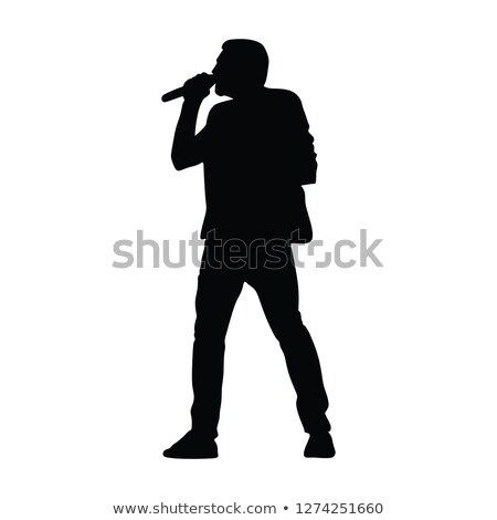 beautiful singer against abstract background stock photo © nejron