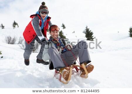 Fiatal apa fia hó család jókedv apa Stock fotó © monkey_business