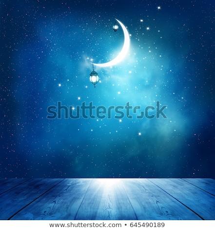 Mavi ramazan dizayn ay arka plan din Stok fotoğraf © rioillustrator