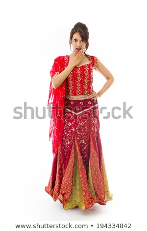 Shocked Indian woman with hand over mouth isolated on white background Stock photo © bmonteny