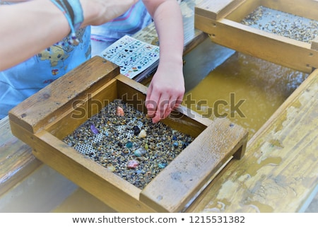 Stock photo: minerals and gems in the metal box