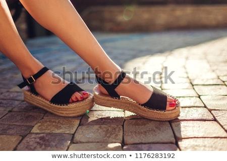 черный сандалии кожа удобный женщины изолированный Сток-фото © zhekos