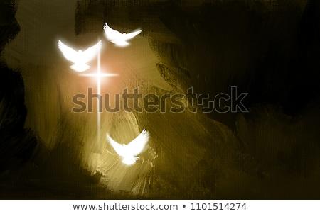 cruz · vidro · pássaro · fundo · Páscoa · resumo - foto stock © kimmit