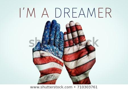 Сток-фото: горизонтальный · мечта · флаг · американский · кадр · армии