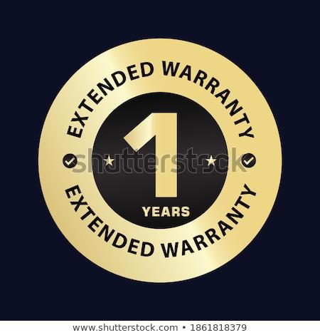 1 year warranty golden vector icon button stock photo © rizwanali3d
