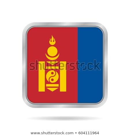 Vierkante metaal knop vlag Mongolië geïsoleerd Stockfoto © MikhailMishchenko