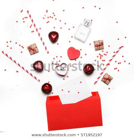 Valentijnsdag witte papier hart hoog Stockfoto © ZARost