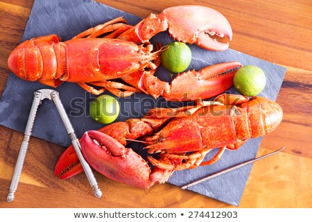 Cooked Lobsters on Table with Lime and Tool Stock photo © ozgur