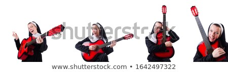 Crazy nun at party on isolated white Stock photo © Elnur