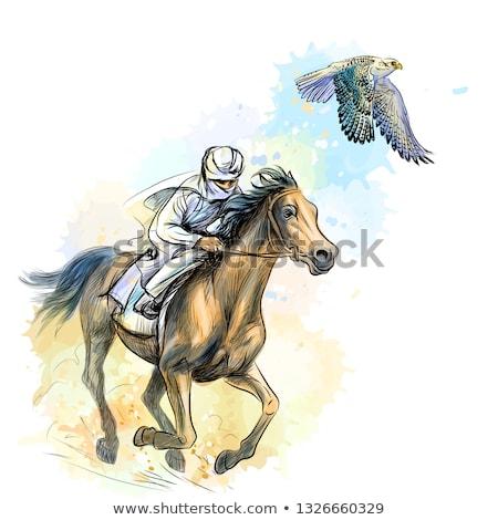 man on horse with hawk Stock photo © adrenalina