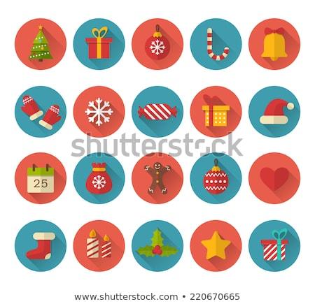 snowflakes winter flat design long shadow icons set stock photo © redkoala