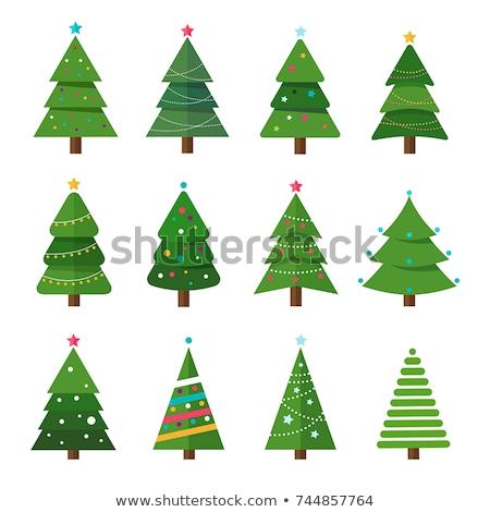 desenho · animado · árvore · de · natal · cartão · árvore · neve · retro - foto stock © kariiika