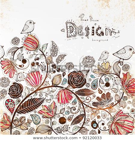 Stylish floral background, hand drawn doodle floral element Stock photo © Elmiko