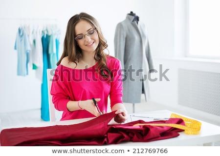 designer · tart · olló · próbababa · fehér · divat - stock fotó © deandrobot