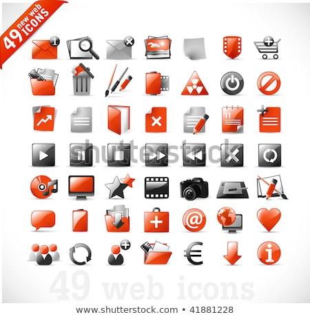 Vásárlás felirat piros vektor gomb ikon Stock fotó © rizwanali3d