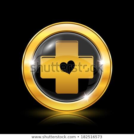 Mentő arany vektor ikon terv egészség Stock fotó © rizwanali3d