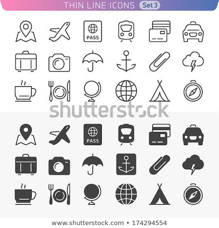 iş · evrak · çantası · daire · ikon · stil · madde - stok fotoğraf © rastudio