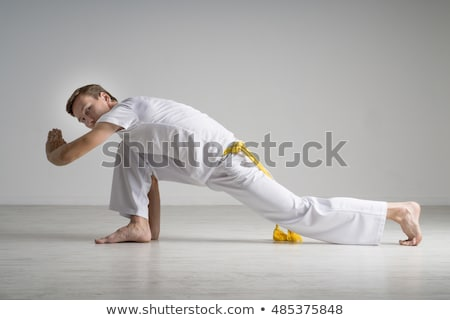 Сток-фото: Капоэйра · танцовщицы · позируют · белый · человека · подготовки