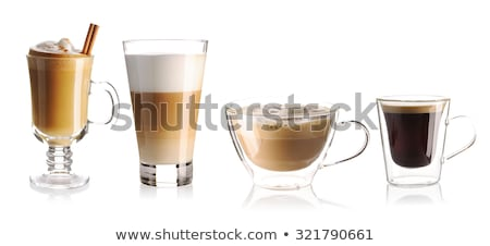 white cup with espresso coffee and cinnamon isolated on white Stock photo © tetkoren