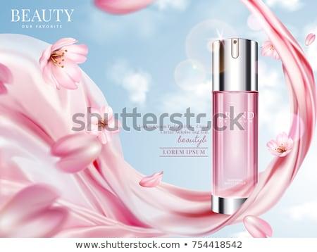 Rózsaszín rózsa kék szatén lap copy space sekély Stock fotó © madelaide
