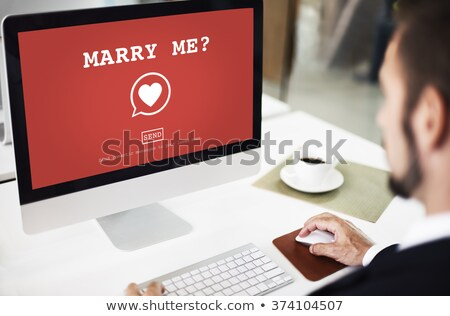 Marry me message on desk with coffee Stock photo © fuzzbones0