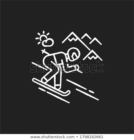 downhill skiing icon drawn in chalk stock photo © rastudio
