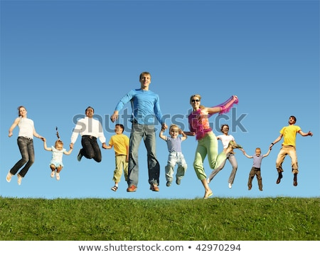 Many jumping children on grass, collage stock photo © Paha_L