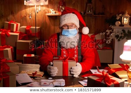 Дед Мороз ребенка швейных вместе домой Bunny Сток-фото © HASLOO