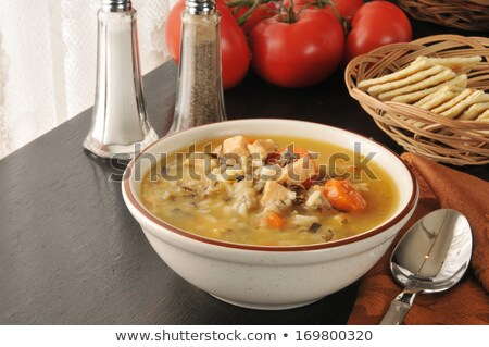 Cup of chicken broth with wild rice Stock photo © ozgur