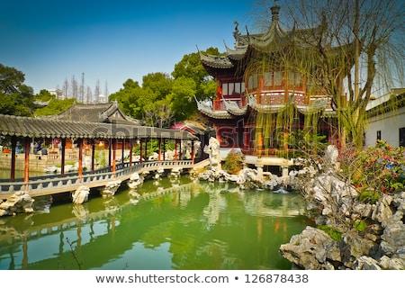 Velho Xangai casas vermelho telhados China Foto stock © billperry