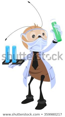 tudós · tart · főzőpohár · kémcső · illusztráció · orvos - stock fotó © orensila