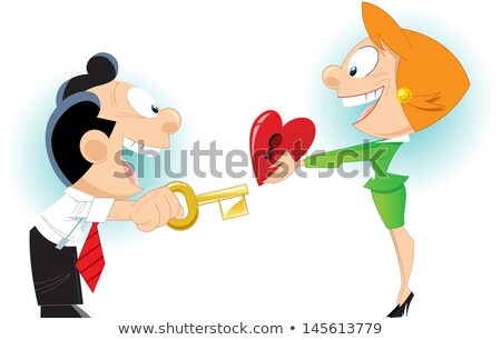Foto stock: The Illustration Shows The Young Man The Man Opens Clef A Symbo