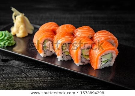 Japon · sushi · ayarlamak · bitkisel · çaylar · demlik · plaka - stok fotoğraf © zhekos