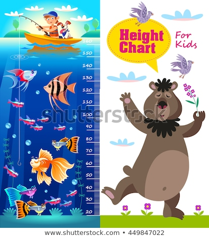 Kids height chart with cartoon fishes and bear. Stock photo © natalya_zimina